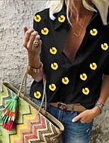 cheap -Women's Going out Blouse Shirt Floral Flower Daisy Long Sleeve Shirt Collar Tops Basic Basic Top White Black Blue