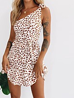 cheap -Women's A-Line Dress Short Mini Dress - Sleeveless Polka Dot Print Backless Layered Summer One Shoulder Casual Sexy Going out Slim 2020 White S M L