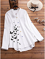 cheap -Women's Blouse Shirt Butterfly Long Sleeve Print Standing Collar Tops Loose Basic Basic Top White Blue Green