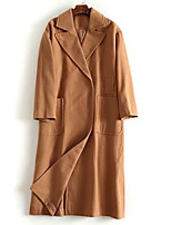 cheap -Women's Fall & Winter Coat Long Solid Colored Daily Basic Brown M L / Loose