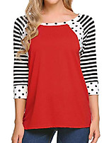 cheap -women& #39;s casual 3/4 sleeve top loose polka dots shirt raglan sleeve striped tees, ponceau, small