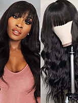 cheap -Remy Human Hair Wig Medium Length Body Wave With Bangs Natural Black Fashionable Design Party Comfortable Capless Brazilian Hair Women's Natural Black 16 inch