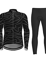 cheap -21Grams Men's Long Sleeve Cycling Jersey with Tights Winter Polyester Black Novelty Bike Jersey Tights Clothing Suit Breathable Quick Dry Moisture Wicking Back Pocket Sports Novelty Mountain Bike MTB