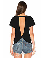 cheap -women's sexy backless short sleeve top back knot casual shirt tee (s, turquoise)