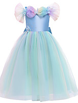 cheap -Cinderella Dress Girls' Movie Cosplay Halloween Christmas Blue Dress Christmas Halloween Masquerade Polyester / Cotton