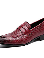 cheap -Men's Fall Business Daily Loafers & Slip-Ons PU Wear Proof Wine / Black / Brown