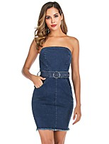 cheap -Women's Denim Dress Short Mini Dress - Sleeveless Solid Color Patchwork Summer Casual Going out Weekend 2020 Navy Blue S M L XL XXL