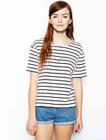cheap -Women's T-shirt Striped Round Neck Tops Basic Basic Top White