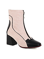 cheap -Women's Boots Block Heel Cap-Toe Chinoiserie Preppy Daily Party & Evening Color Block Linen Booties / Ankle Boots Black / Pink / Green