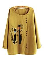 cheap -Women's Blouse Shirt Cat Long Sleeve Print Round Neck Tops Loose Basic Basic Top Yellow Dusty Blue