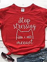 cheap -Women's T-shirt Graphic Prints Letter Print Round Neck Tops Slim 100% Cotton Basic Basic Top Black Red Gold