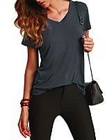 cheap -women's v neck short sleeve casual t-shirt purple-2 m