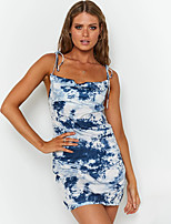 cheap -Women's Strap Dress Short Mini Dress - Sleeveless Tie Dye Backless Summer Strapless Casual Sexy Going out Slim 2020 Blue Red S M L