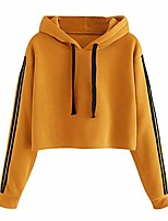 cheap -womens hoodie cropped shirt long sleeve sport solid color round neck sweatshirt blouse tops (l, yellow)