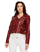cheap -ll wjc1852 womens faux leather motorcycle biker jacket m red