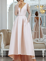cheap -A-Line Minimalist Sexy Engagement Formal Evening Dress V Neck Long Sleeve Asymmetrical Satin with Pleats Lace Insert 2020
