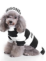 cheap -Dog Halloween Costumes Costume Shirt / T-Shirt Stripes Cosplay Casual / Sporty Christmas Party Dog Clothes Breathable Black Costume Polyester S M L XL