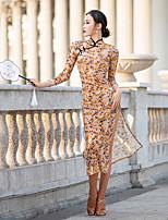 cheap -Latin Dance Dress Split Pattern / Print Women's Performance 3/4 Length Sleeve Stretch Yarn