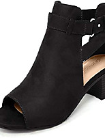 cheap -women's cutout side strap mid black chunky heel fashion ankle bootie boots black 6.5