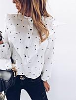 cheap -Women's Blouse Shirt Polka Dot Long Sleeve Ruffle Print Round Neck Tops Basic Basic Top White Black