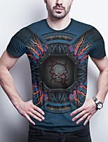 cheap -Men's Daily Plus Size T-shirt Graphic Skull Print Short Sleeve Tops Basic Round Neck Blue