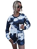 cheap -Women's Basic Streetwear Tie Dye Two Piece Set T-shirt Pant Loungewear Drawstring Tops / Loose