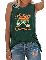 cheap -tank tops for women happy camper tank top sleeveless graphic tee shirts loose fit vest tees green