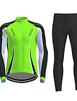 cheap -21Grams Men's Long Sleeve Cycling Jersey with Tights Winter Polyester Black / Yellow Red Fuchsia Novelty Bike Jersey Tights Clothing Suit Breathable Quick Dry Moisture Wicking Back Pocket Sports