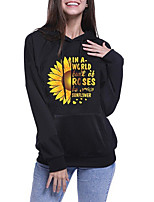 cheap -Women's Womens Hoodie Hoodies Pullover Hoody Black Artistic Style Hoodie Cotton Cute Sunflower Sport Athleisure Pullover Long Sleeve Warm Soft Comfortable Everyday Use Exercising General Use