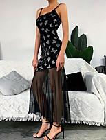 cheap -Women's Strap Dress Maxi long Dress - Sleeveless Print Backless Mesh Print Summer Strapless Sexy Party Club Cotton Slim 2020 Black XS S M L