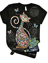 cheap -Women's Blouse Shirt Cat Print Round Neck Tops Loose Basic Basic Top Black