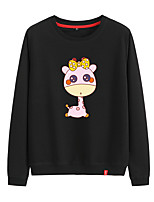 cheap -Women's Sweatshirt Pullover Sweatshirts Black White Pink Cartoon Animal Patterned Cartoon Cute Sport Athleisure Pullover Long Sleeve Warm Soft Comfortable Everyday Use Causal Exercising General Use