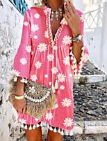 cheap -Women's Swing Dress Short Mini Dress - Long Sleeve Print Tassel Fringe Print Summer V Neck Casual Boho Flare Cuff Sleeve Loose 2020 Blushing Pink S M L XL XXL 3XL 4XL