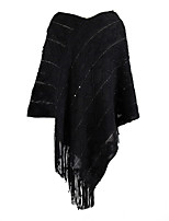cheap -Women's V Neck Fall & Winter Cloak / Capes Regular Solid Colored Daily Basic Tassel Fringe Black Red Khaki One-Size