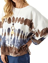 cheap -Women's Daily Pullover Sweatshirt Print Casual Hoodies Sweatshirts  Loose Brown