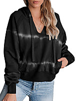 cheap -Women's Womens Hoodie Hoodies Pullover Hoody Black Blue Oversized Tie Dye Deep V Solid Color Cute Sport Athleisure Pullover Long Sleeve Warm Soft Comfortable Everyday Use Exercising General Use