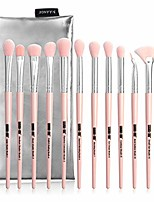 cheap -eye makeup brushes 12pcs eyeshadow makeup brushes set with soft synthetic hair for eyeshadow, eyebrow, eyeliner, blending & #40;with carrying bag& #41;