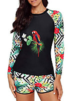 cheap -women's two piece swimsuits long sleeve rashguard sun protection shirt floral printed tankini swimsuit bathing suit black parrot pattern 2xl