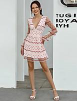 cheap -Women's A-Line Dress Short Mini Dress - Long Sleeve Geometric Embroidered Ruffle Mesh Summer V Neck Casual Elegant Slim 2020 White S M L