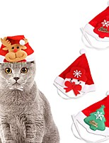 cheap -Dog Cat Ornaments Hats, Caps & Bandanas Hair Accessories Christmas Reindeer Sweet Style Headwarmers Winter Dog Clothes White / Red Red / Green Red Costume Fabric One-Size