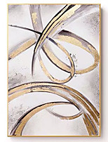 cheap -Abstract Gold Foil Line Art Paintings 100% Hand painted Acrylic Canvas Modern Wall Decor Art Home Wall Decor Oil Painting Rolled Without Frame
