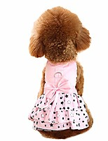 cheap -sweet dog dress with d-ring dog bowknot princess clothes cute lace skirt for small dogs cats pink