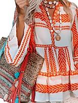 cheap -Women's Shirt Color Block Long Sleeve Shirt Collar Tops Basic Top Orange