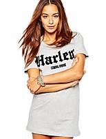 cheap -Women's T-shirt Letter Print Round Neck Tops Basic Basic Top Gray