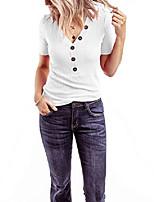 cheap -women& #39;s short sleeve v neck shirts ribbed basic henley tops light purple