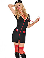 cheap -Women's Mesh Criss Cross Uniforms & Cheongsams Suits Nightwear Patchwork Black S M L