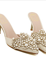 cheap -Women's Sandals Kitten Heel Pointed Toe Casual Sweet Daily Rhinestone Pearl Faux Leather Almond / Pink