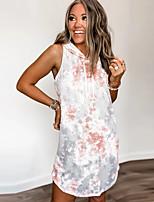 cheap -Women's Shift Dress Knee Length Dress - Sleeveless Tie Dye Pocket Patchwork Print Fall V Neck Casual Cotton Slim 2020 Gray S M L XL