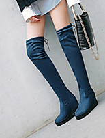 cheap -Women's Boots Wedge Heel Round Toe Classic Daily Solid Colored Nubuck Over The Knee Boots Black / Burgundy / Dark Blue / Sock Boots