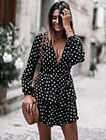cheap -Women's A-Line Dress Short Mini Dress - Long Sleeve Polka Dot Fall V Neck Sexy Daily 2020 Black S M L XL XXL
